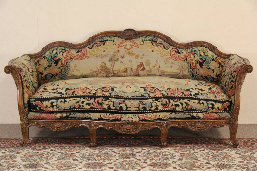 antique french sofa ebay inflatable convertible and double air bed country 1900 needlepoint  
