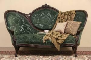 Victorian 1870 Antique Hand Carved Walnut Sofa, Velvet ...