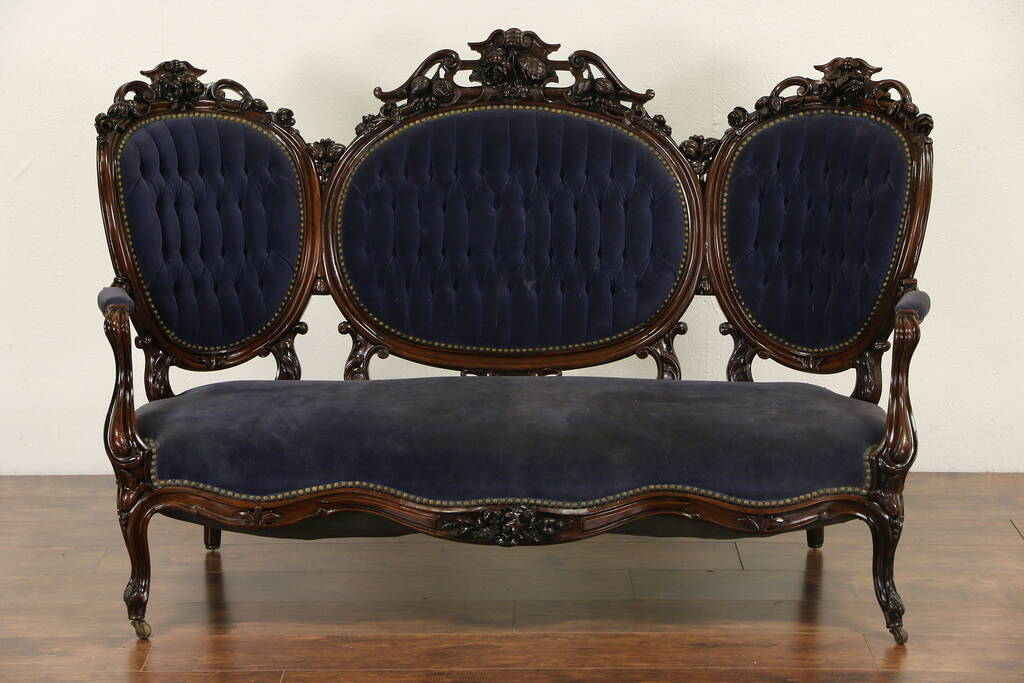 SOLD  Victorian Hand Carved Rosewood 1860s Antique Sofa Old Velvet  Harp Gallery Antique