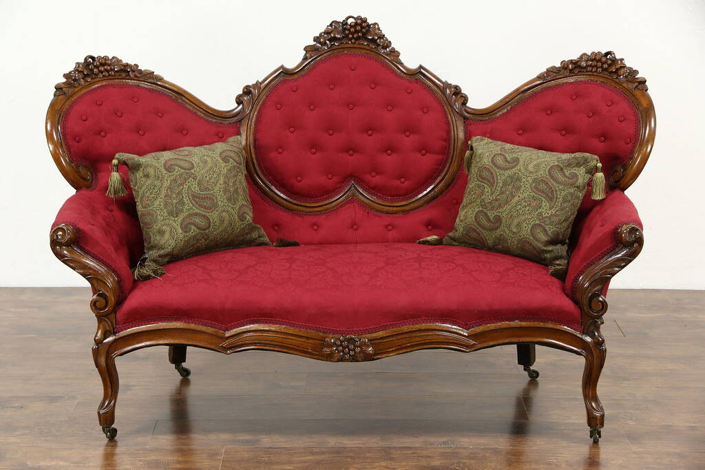 SOLD  Victorian 1860s Antique Grape Carved Walnut Sofa