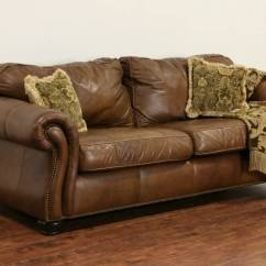 Mission Brown Leather Sofa Sectional Beds For Small Es Sold - Bernhardt Signed Natural Vintage ...