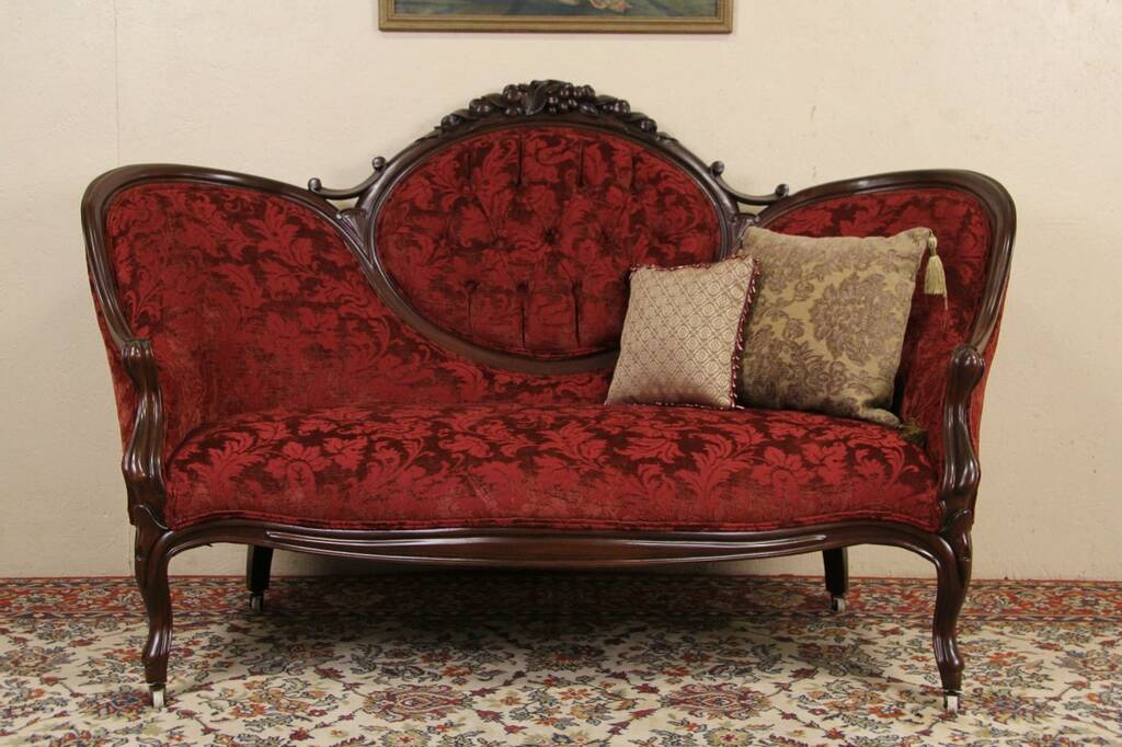 long chair couch sofa aeron review sold - victorian 1870 antique loveseat, carved fruit crest harp gallery furniture