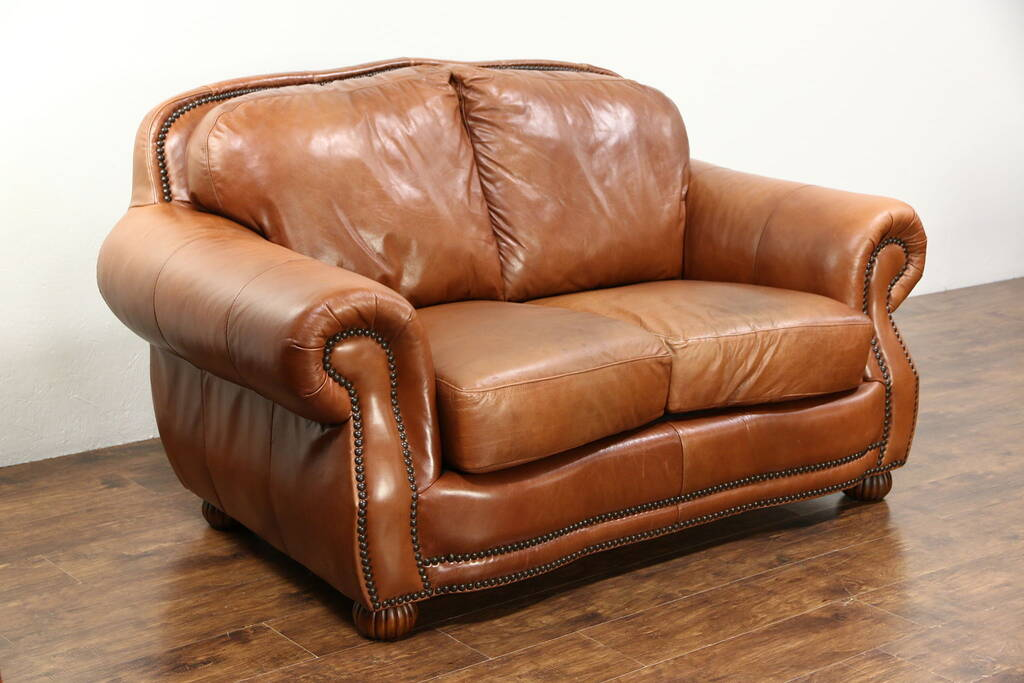 SOLD  Leather Loveseat Brass Nailhead Trim Signed Viewpoint Leather Works 2005  Harp Gallery