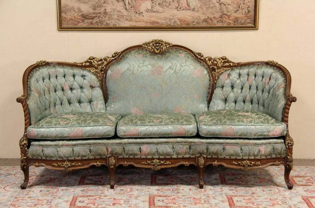 SOLD  French Style Carved 1940s Vintage Sofa Original  Harp Gallery Antique Furniture