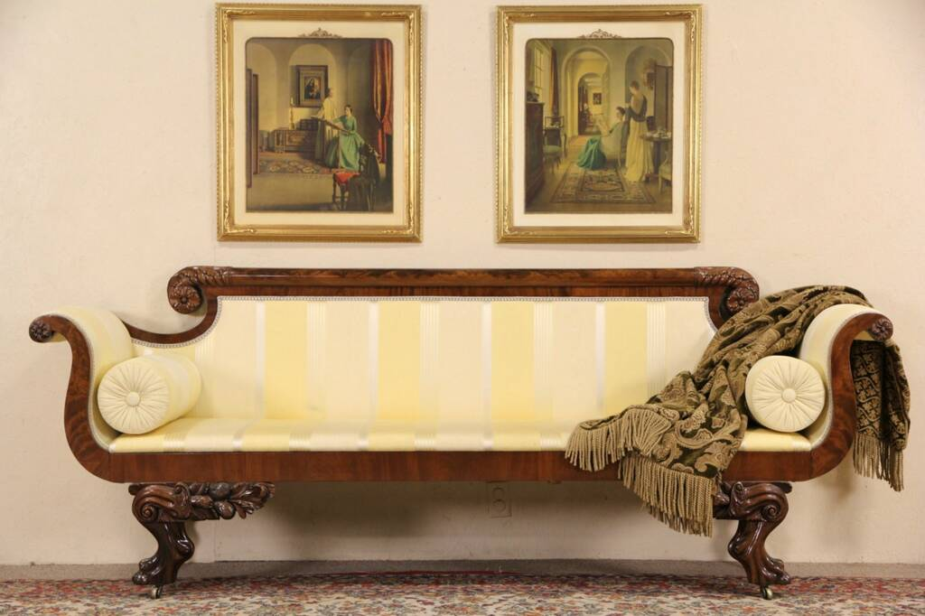 SOLD  American Empire 1825 Antique Sofa Carved Lion Paws