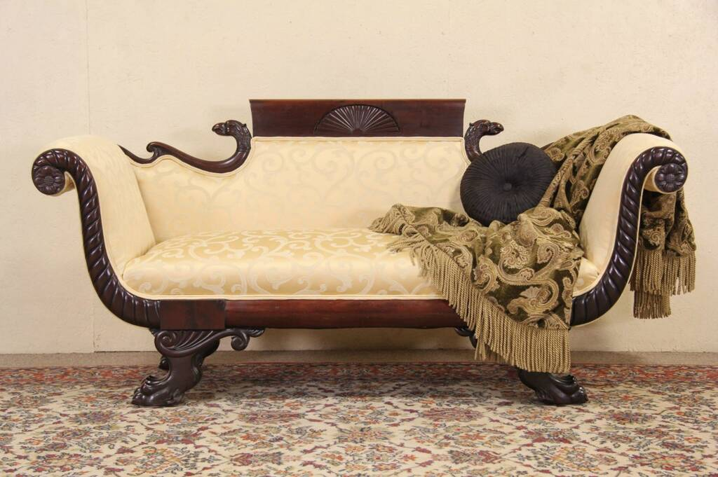 SOLD  Empire Carved Eagle  Lion Paw 1920 Antique Sofa Newly Upholstered  Harp Gallery