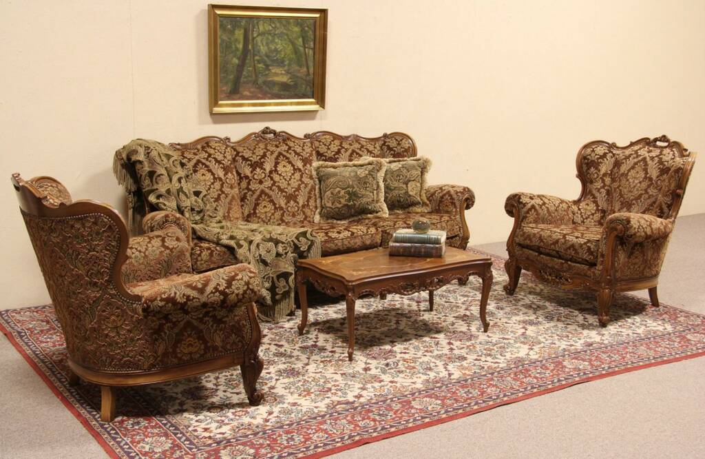 SOLD  Italian Vintage Sofa Set Carved Sofa  Pair of