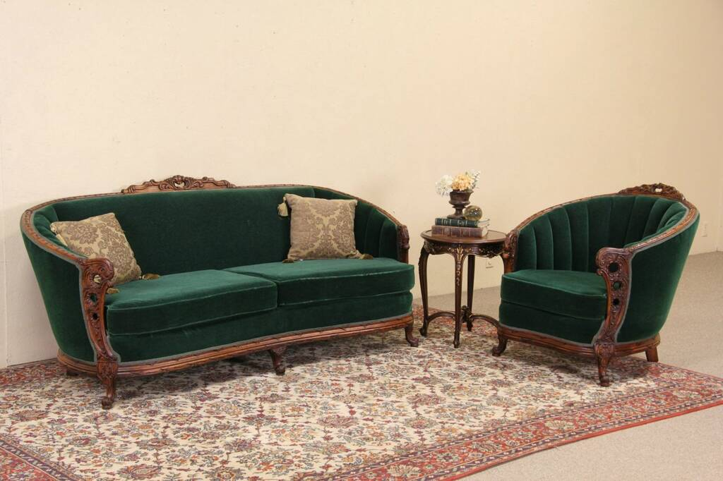 empire furniture sofa sofaer global research hk ltd sold - carved 1925 mohair club chair & set harp ...