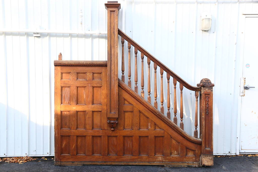 SOLD  Victorian 1895 Oak Archictectural Salvage Staircase