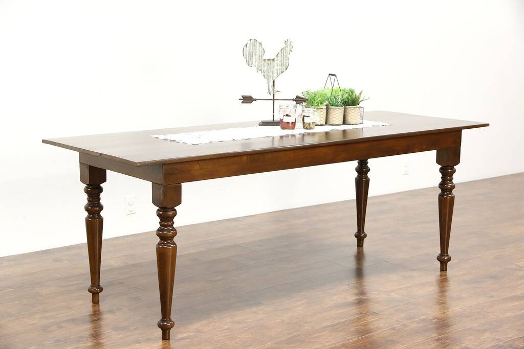 Country Pine Vintage Farmhouse Dining Table Turned Legs