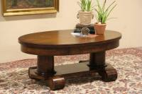 SOLD - Oval Oak Coffee Table made from 1900 Library Table ...