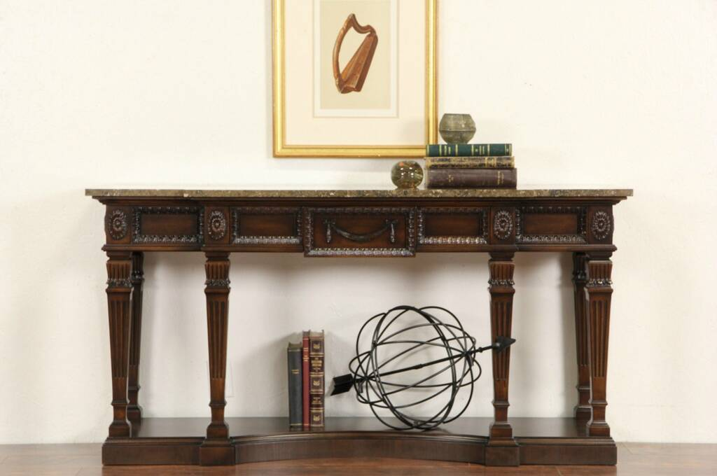SOLD  Marble Top Neoclassical Vintage Hall or Foyer Console Sofa Table Signed Fancher  Harp