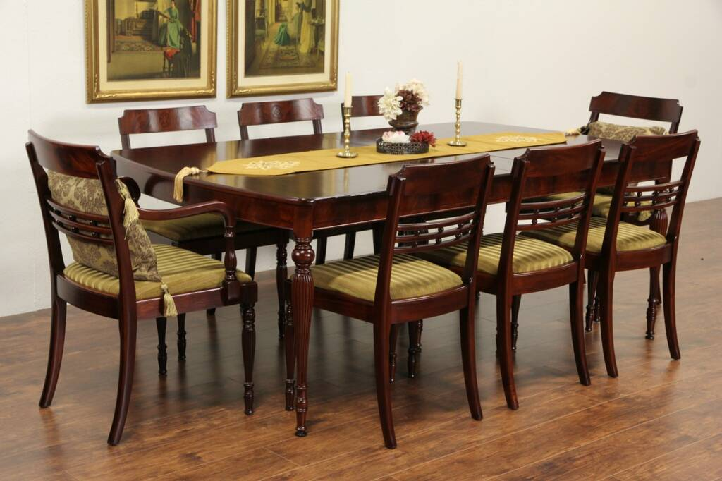 SOLD  Sheraton 1930 Vintage Dining Set Table 4 Leaves