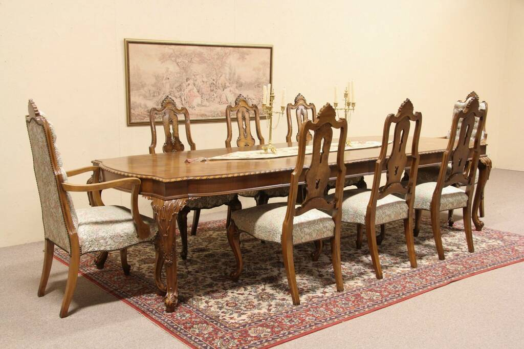 tiger oak dining chairs home theater room sold - romweber carved vintage set, table, 8 harp gallery antique furniture