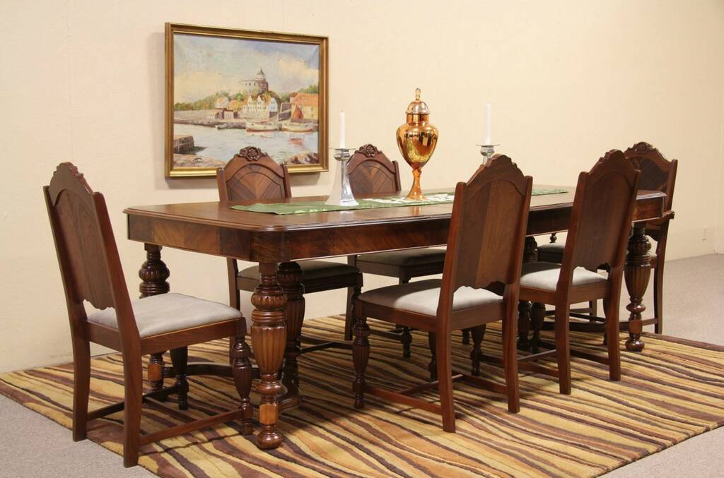SOLD  Art Deco Antique 1935 Dining Set 6 Chairs Table