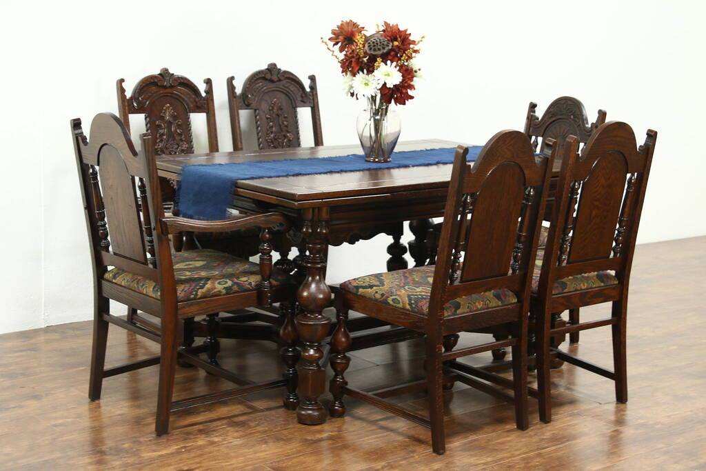 antique tiger oak dining room chairs outdoor papasan chair carved english tudor 1925 set, table & 6 - harp gallery furniture