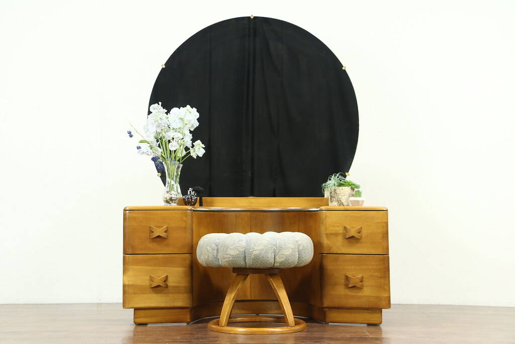 Midcentury Modern Vintage Vanity or Dressing Table  Stool