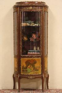 SOLD - Curved French Curio Display Cabinet, Painted Scenes ...