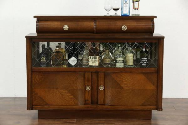 Art Deco Oak Vintage Scandinavian Sideboard Bar Cabinet