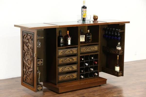 Chinese Teak & Marble Carved Vintage Bar Cabinet Folding