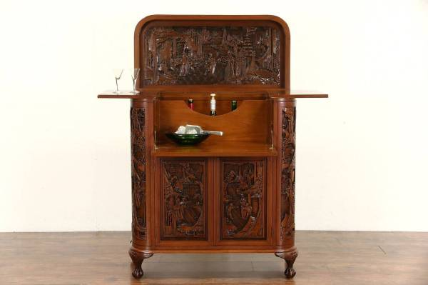 Chinese Hand Carved Teak Vintage Bar Liquor Cabinet