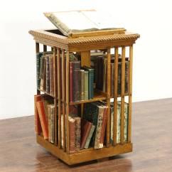 Revolving Chair Used Wedding Covers York Oak Antique Spinning Bookshelf Chairside