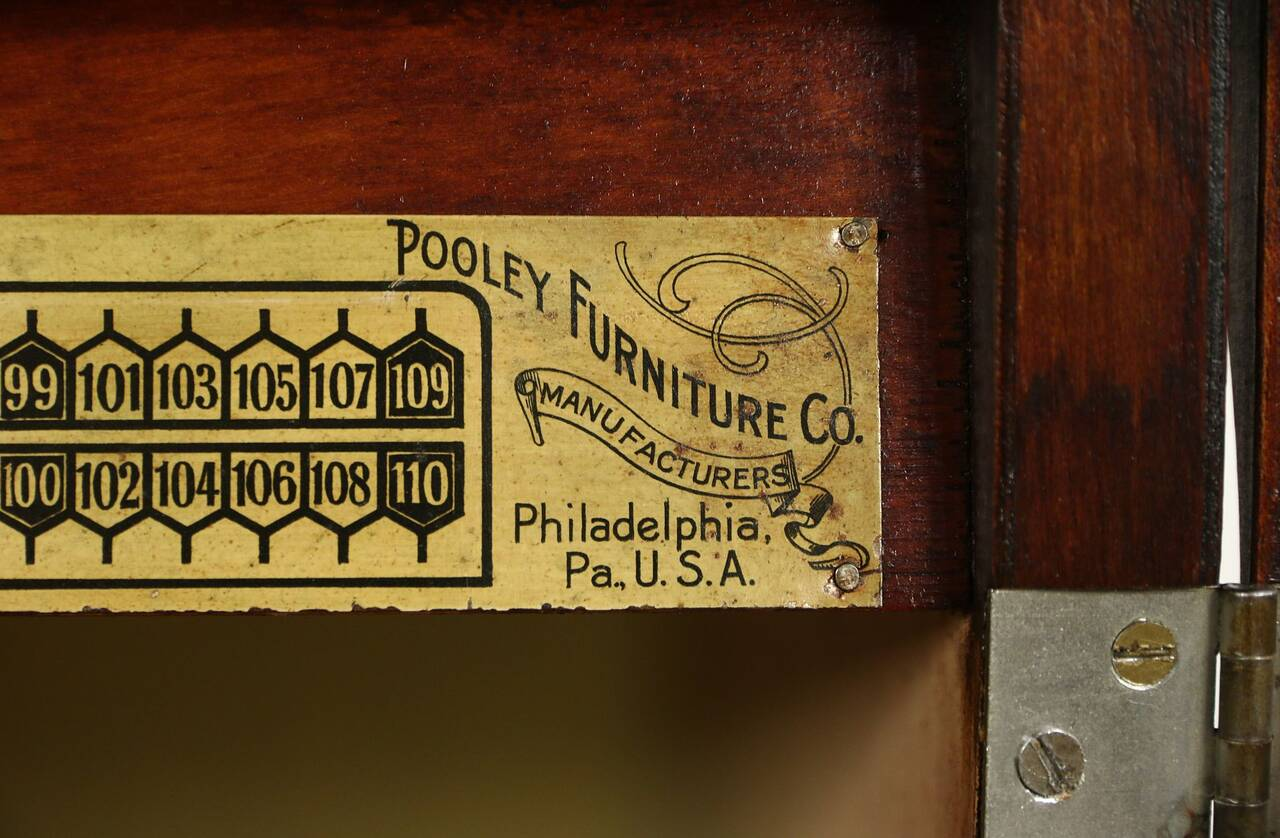 sofa records philadelphia comfortable sofas 2018 pooley signed antique mahogany record cabinet pat 1910