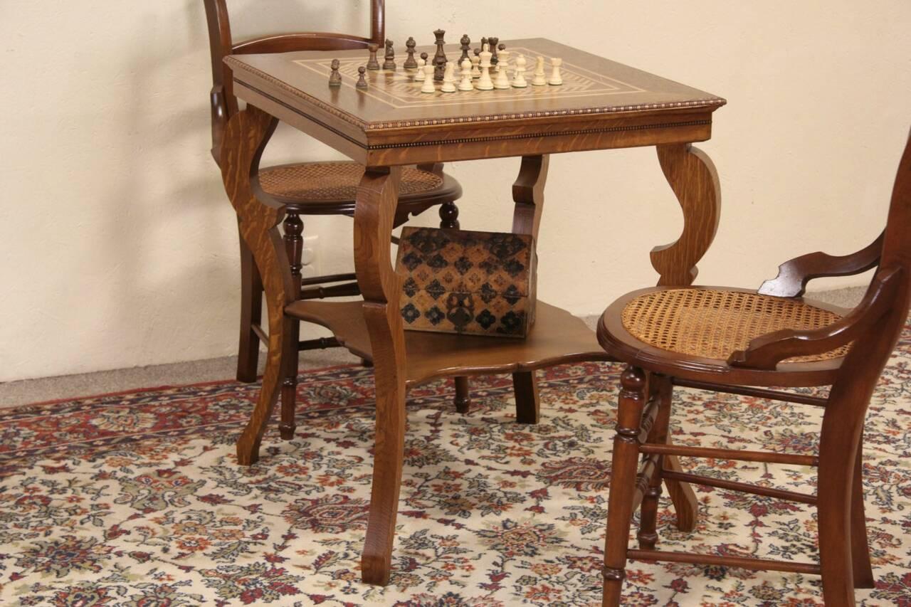 chess table and chairs wheelchair dubai oak 1900 antique or checker board inlaid game