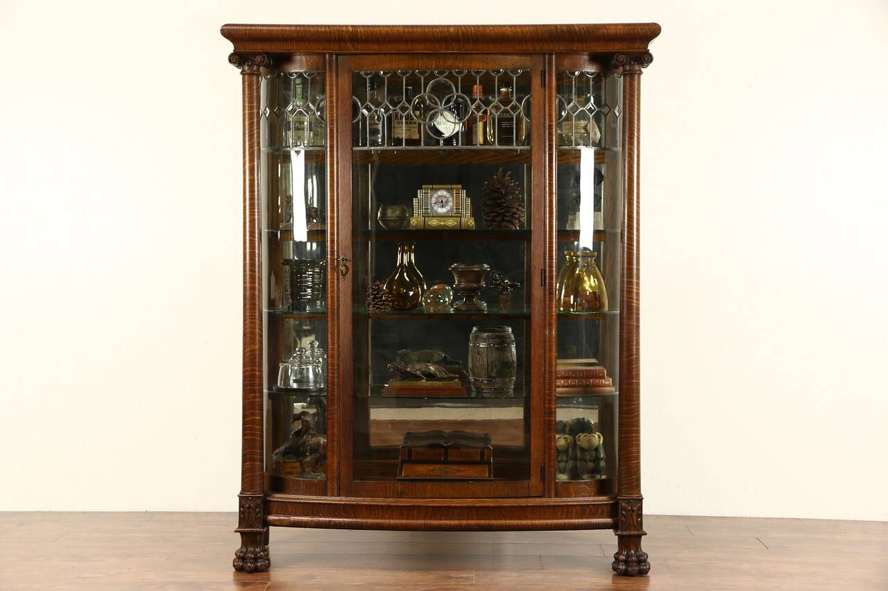 Curved Glass 1900 Antique Oak China Cabinet Curio Display Leaded Beveled Glass  eBay