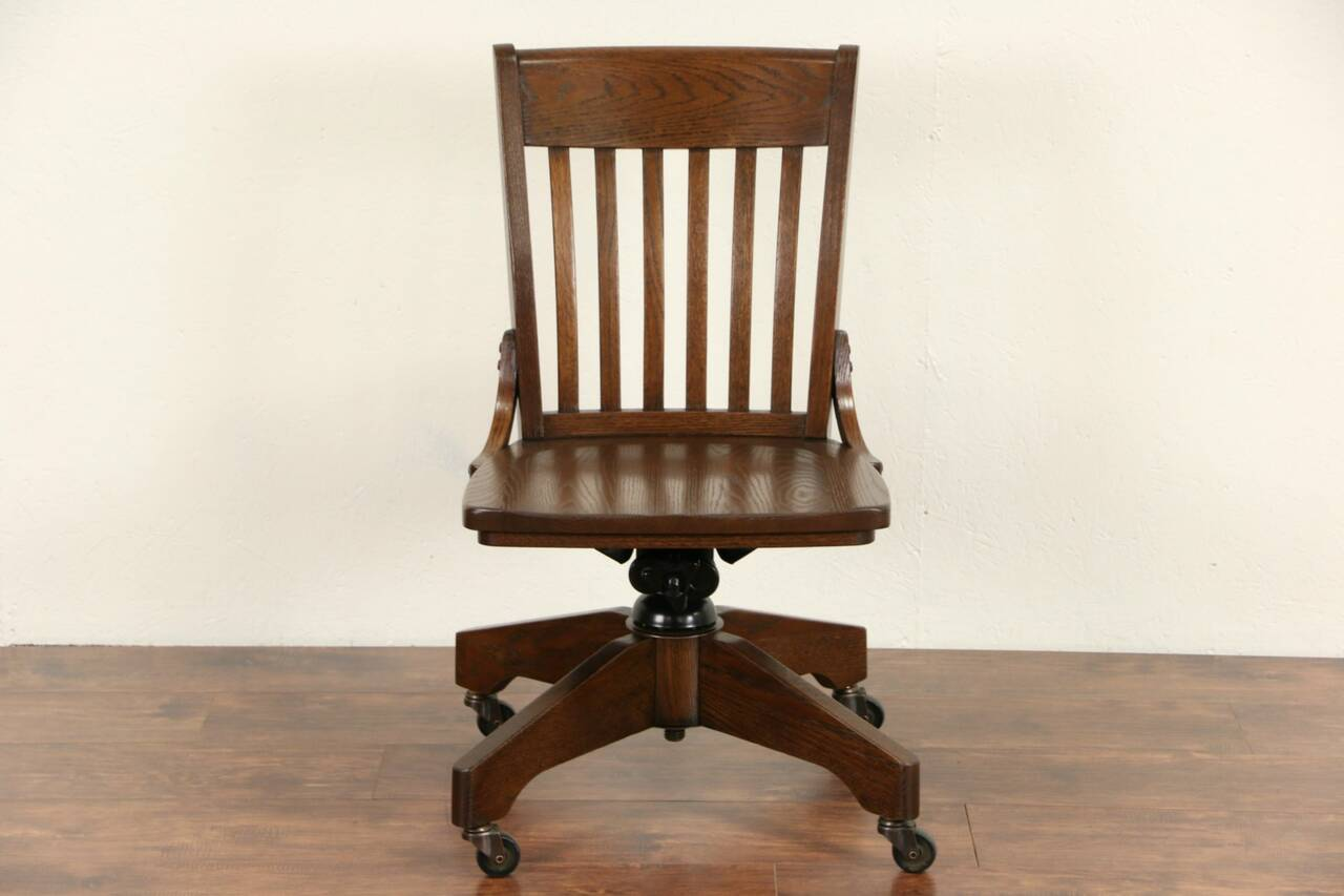 vintage office chairs sitting on chair exercises swivel adjustable oak desk library or