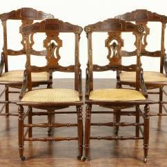 Eastlake Victorian Parlor Chairs Travel High Chair Set Of 4 1880 Antique Carved Walnut