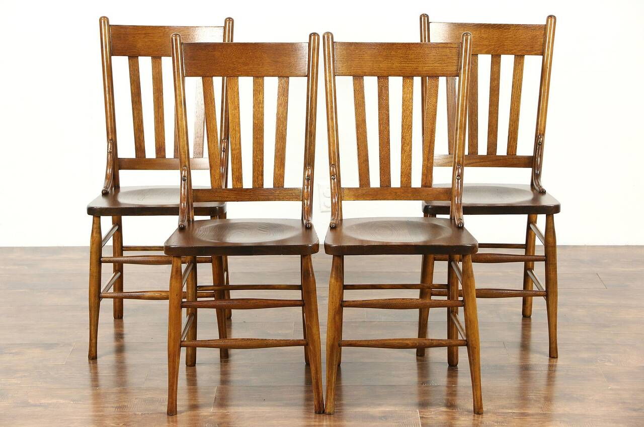 Set of 4 Antique 1900 Oak Dining or Game Table Chairs