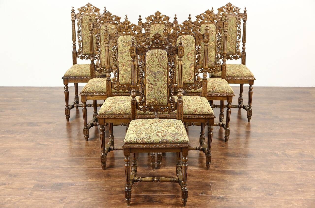 vintage oak dining chairs 3 legged chair set of 8 black forest grapevine carved 1880 antique