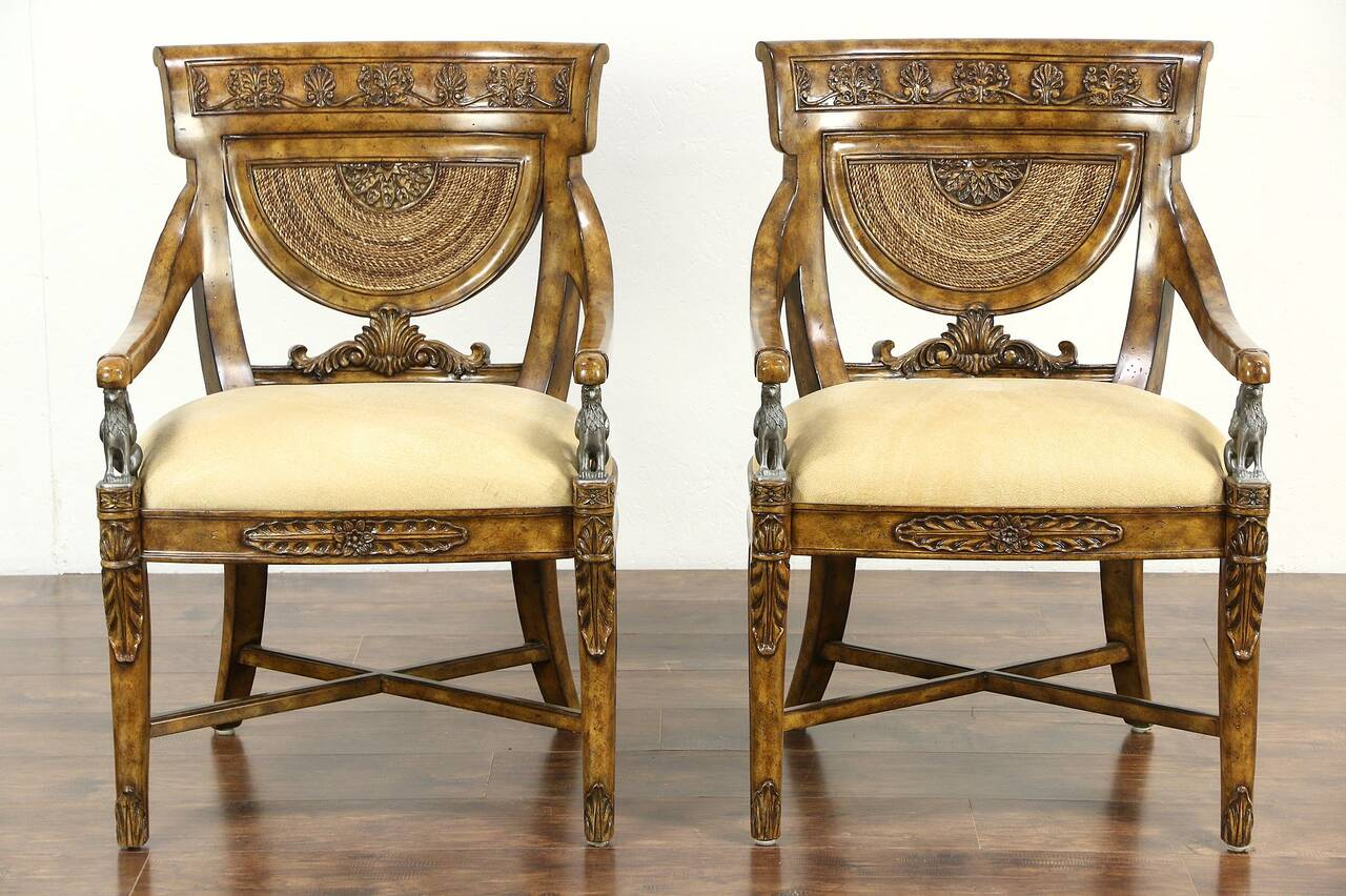 maitland smith dining chairs green french bistro signed pair of carved classical