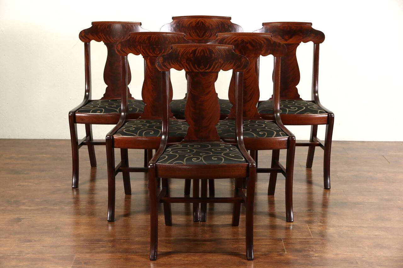 antique chairs ebay sports chair with shade set of 6 1900 mahogany empire dining new