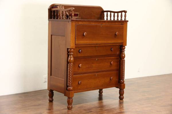 Empire 1830' Antique Cherry Tall Chest Carved