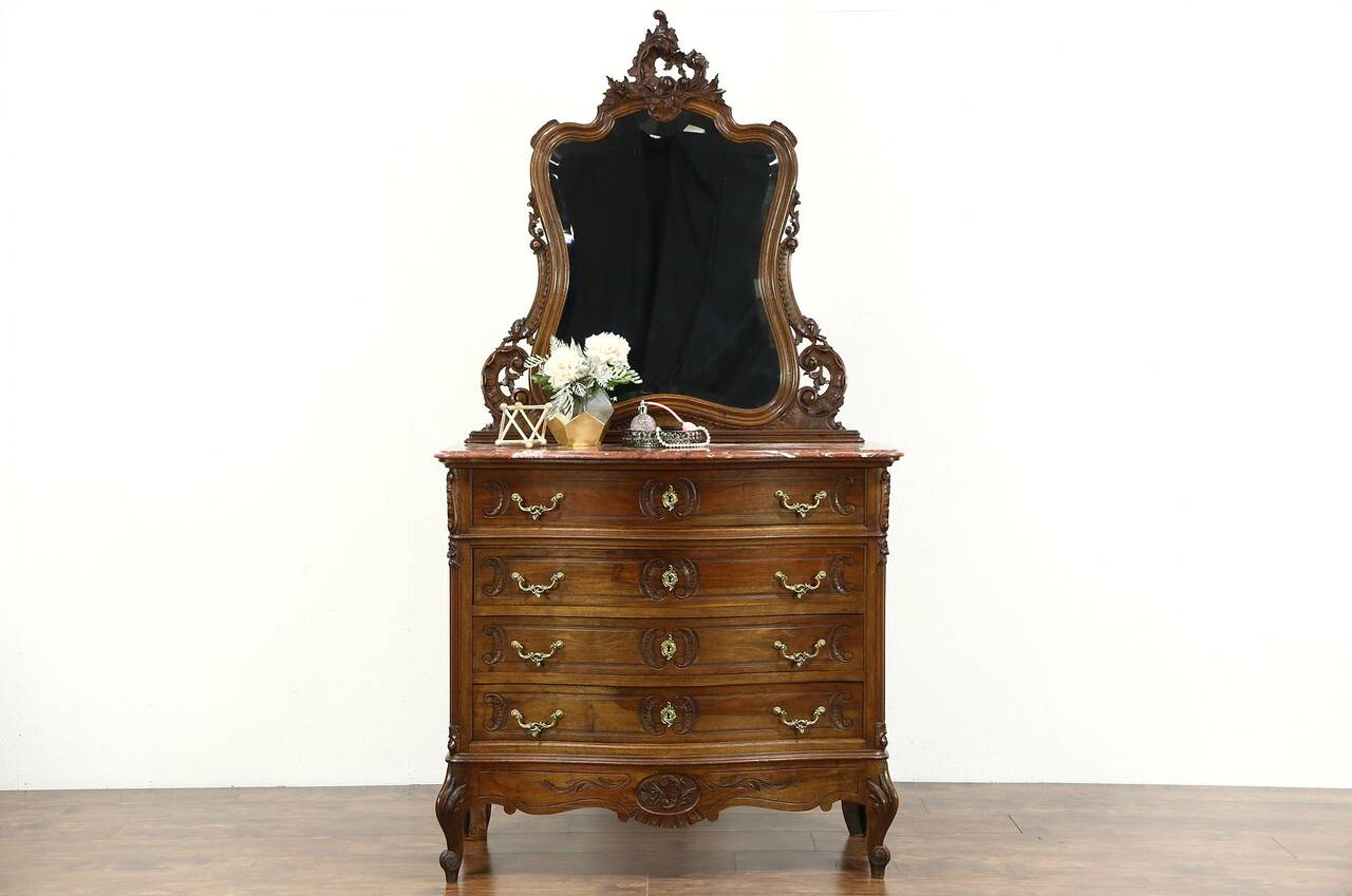 French Carved Walnut 1900 Antique Chest or Dresser Marble  Mirror  eBay