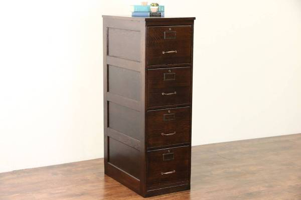 Oak 1915 Antique Library Office 4 Drawer File Cabinet