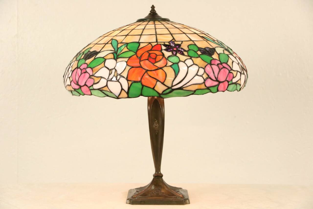 Leaded Stained Glass Shade 1915 Antique Table Lamp