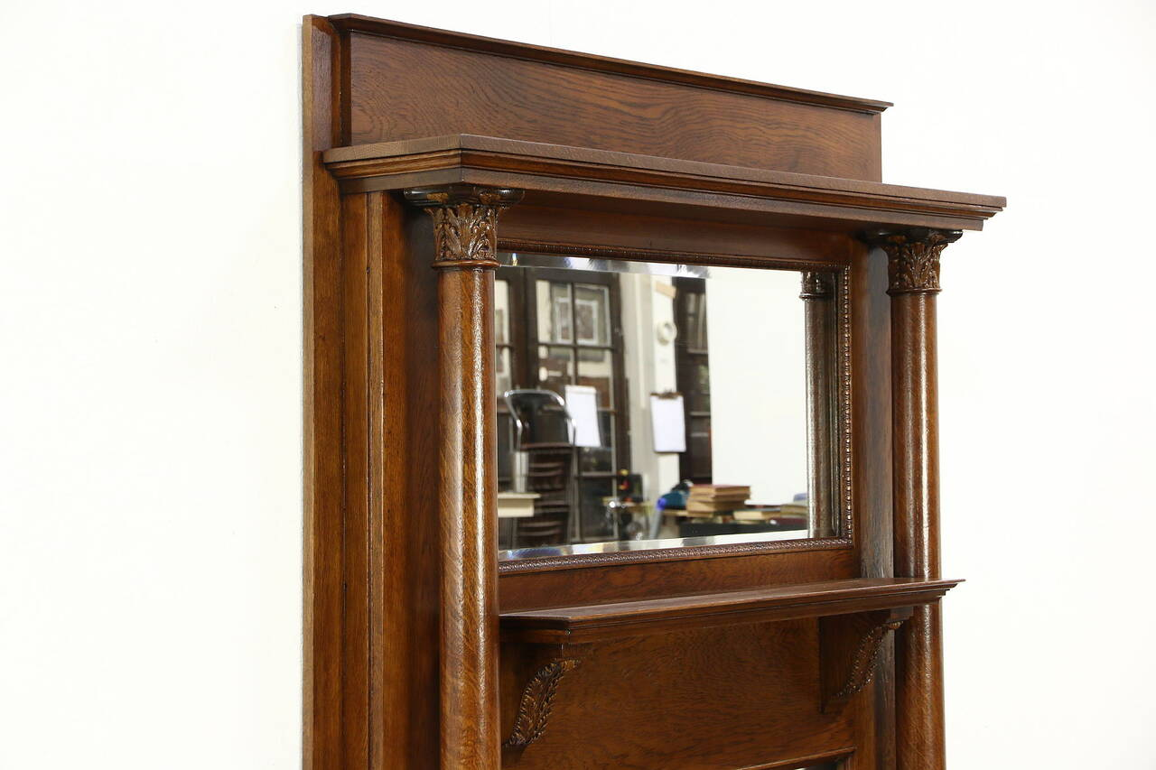 Victorian Oak Architectural Salvage Antique Fireplace Mantel Mirror Columns  eBay