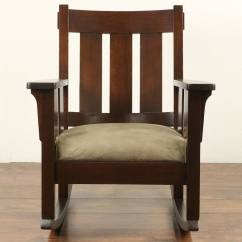 Craftsman Rocking Chair Styles Sloping Arm Dining Arts And Crafts Mission Oak Antique 1905