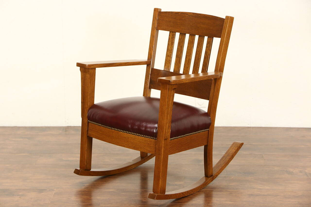 Rocker Arts  Crafts Mission Oak Antique 1905 Rocking