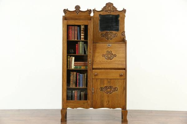 Antique Secretary Desk with Side Bookcase