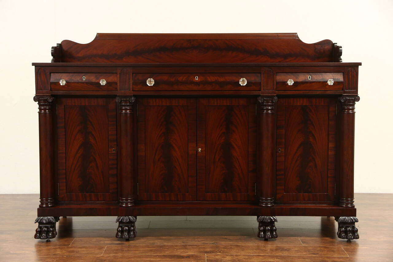 Empire Carved Mahogany 1900 Antique Sideboard Server Or