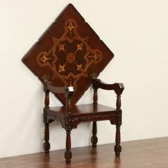 Folding Chair Desk Combo Button Tufted Scandinavian 1900 Antique Combination And