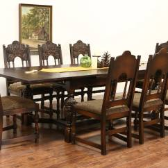 Vintage Dining Room Chairs Wicker Baby Shower Chair English Tudor Carved Oak 1925 Antique Set Table