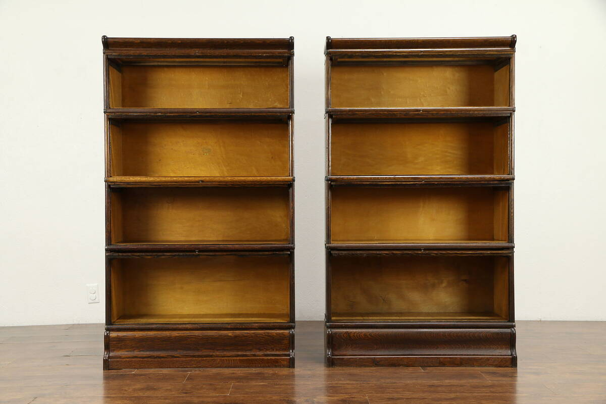 Details About Pair Of Quarter Sawn Oak Antique 4 Stacking Lawyer Bookcases Macey 31343