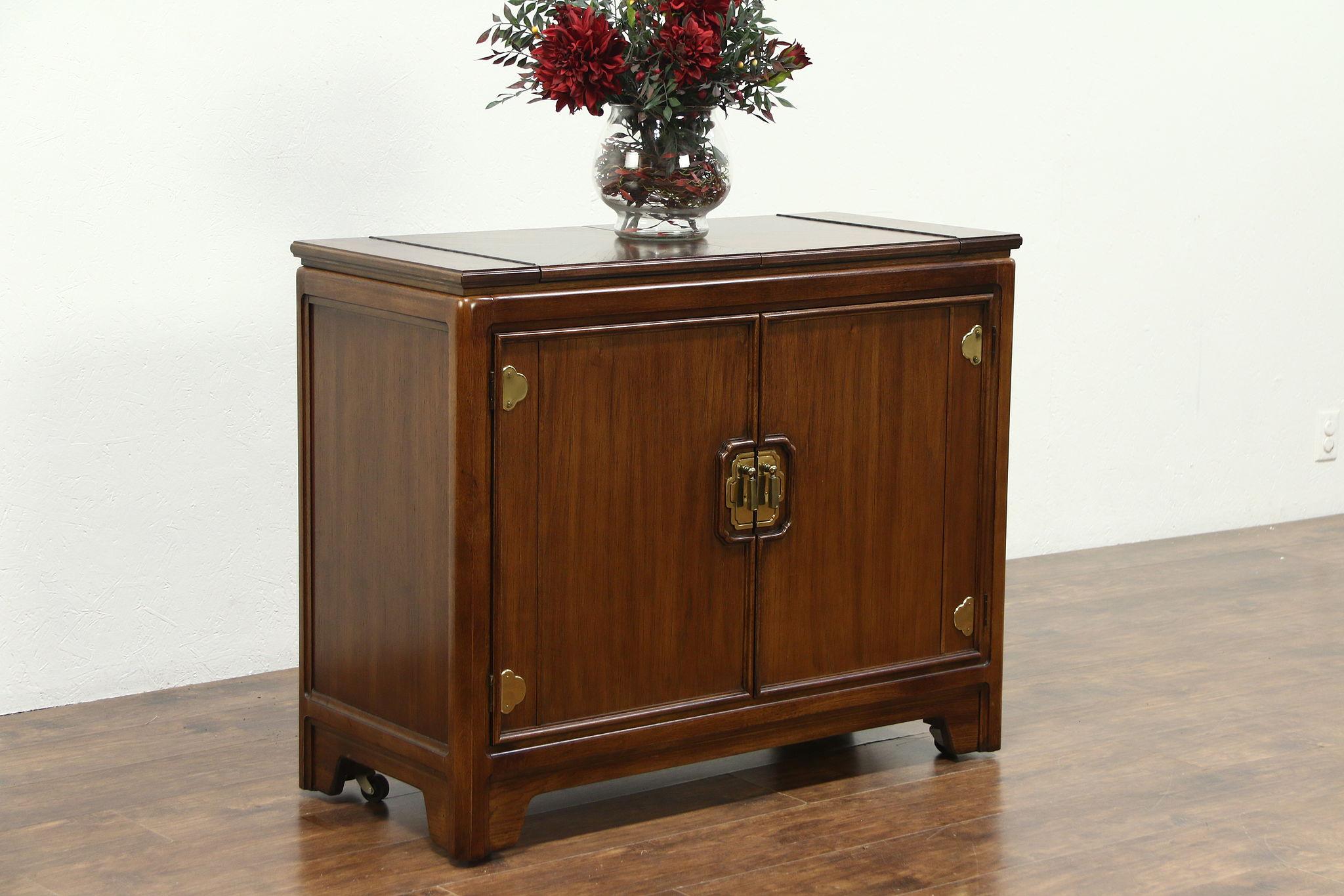 Sold Bar Cabinet Or Server Vintage Fruitwood Flip Open Top Signed Thomasville Harp Gallery Antiques Furniture
