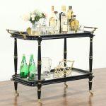 Sold Black Gold Vintage Bar Cart Tea Or Dessert Trolley Brass Mounts 28819 Harp Gallery Antiques Furniture