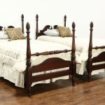 Sold Pair Traditional Mahogany 4 Poster Vintage Twin Beds Carved Flame Finials Harp Gallery Antiques Furniture